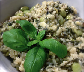 bean and spinach risotto